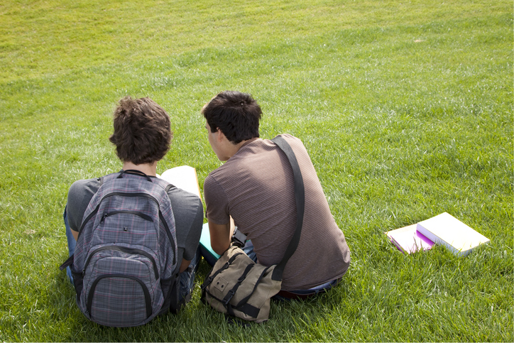 Two teenage boys reading together