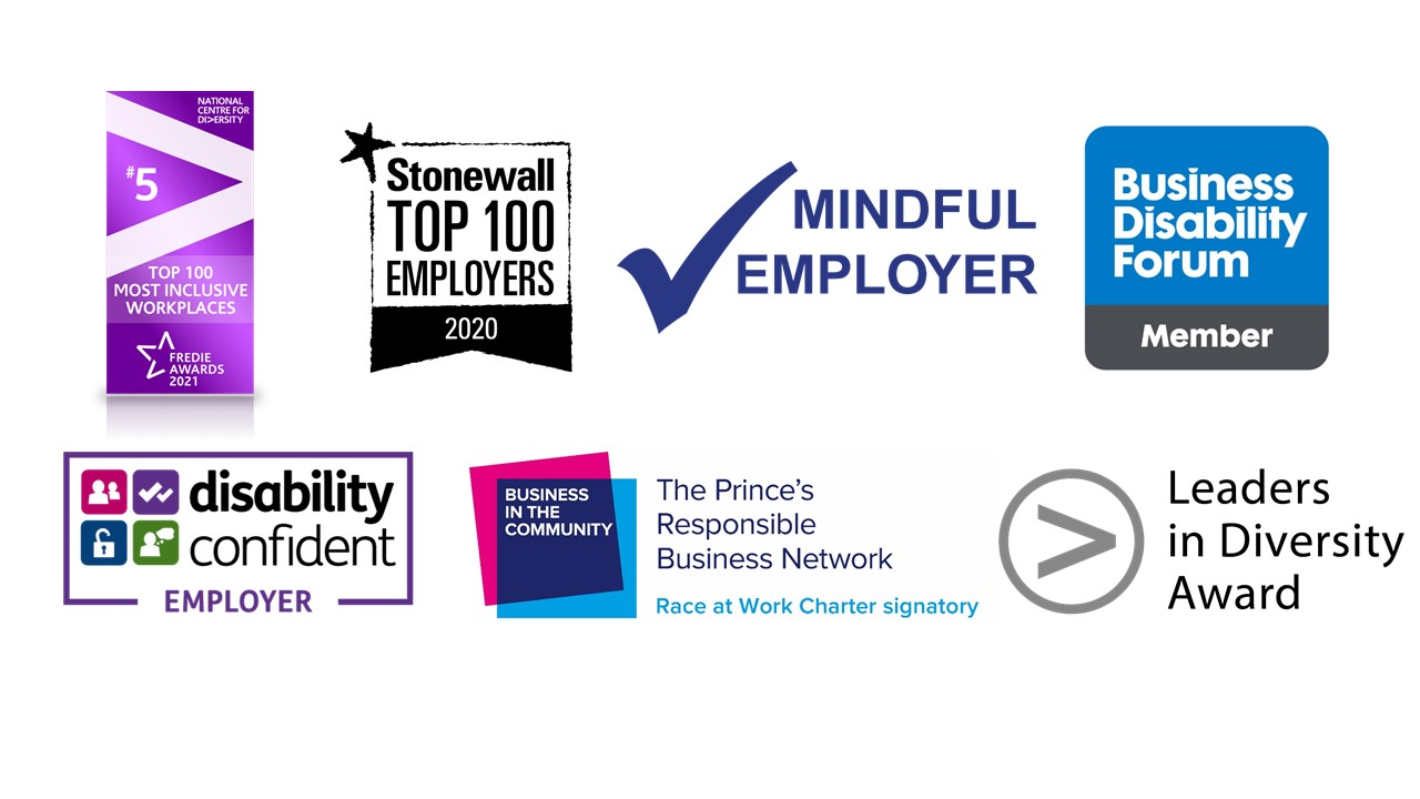 A composite image of the EDI logos awarded to Victim Support